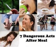 7 Dangerous acts after a meal..
