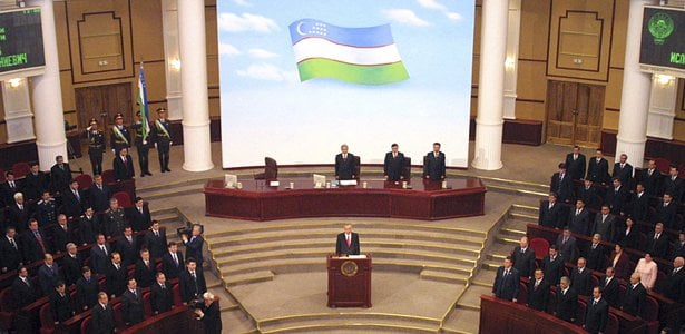 Uzbek leader Karimov addresses parliament during an inauguration ceremony in Tashkent